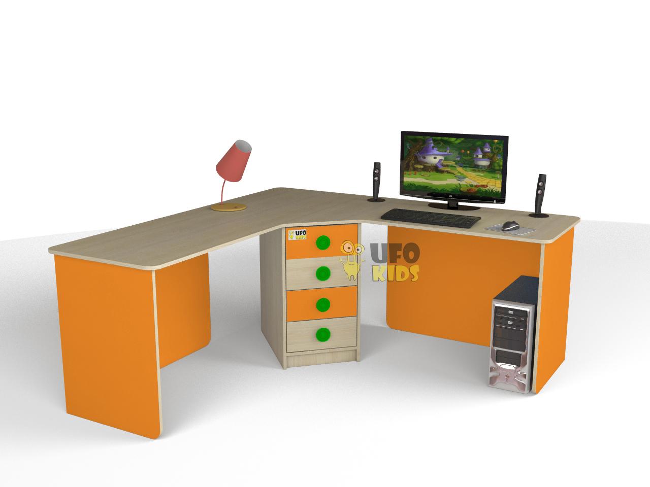 купить стол угловой для двоих детей флайя C005 недорогие детские